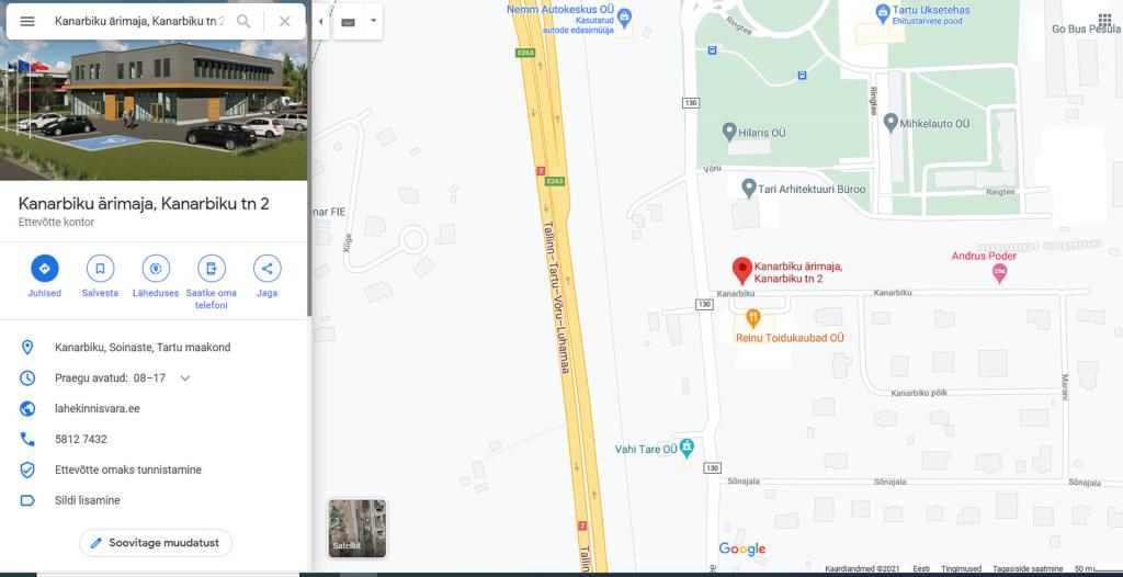 Kanarbiku-ärimaja-asukoht-kaardil-Lahe-Kinnisvara